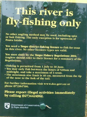 Fly fishing only sign